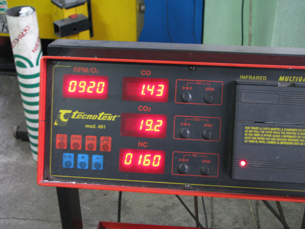Exhaust emission analysis test, Tecno tester
